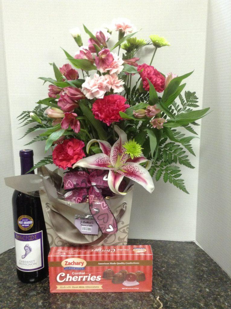 Sweet Somethings: Flowers, chocolates and wine.