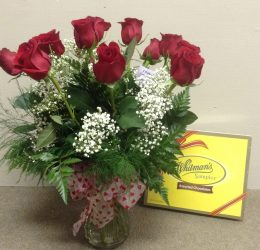 The Classic dozen Roses with a box of chocolates